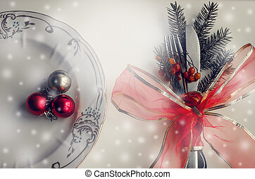 Christmas place setting, plate, knive and fork