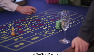 Man gets won chips at casino - man won roulette and bets...