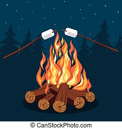 Bonfire with marshmallow - camping, burning woodpile Vector