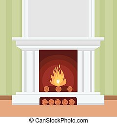 Fireplace in flat design style Christmas fireplace, vector