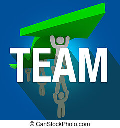 Team Word Long Shadow People Working Together Lift Arrow -...