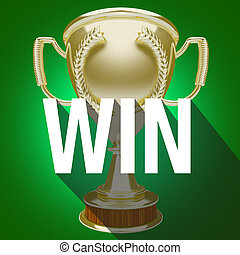 Win Gold Trophy Team Victory Competition Game Award - Win...