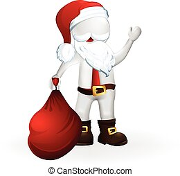 Happy Christmas Santa Claus waving hand 3D vector design