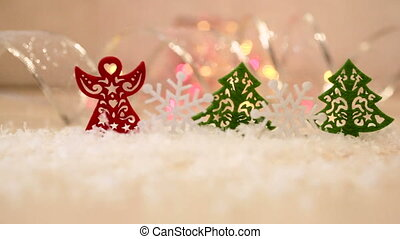 Christmas or New Year greeting background with toys
