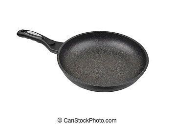 Black frying pan, isolated on white background