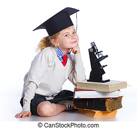 Little girl in academic hat - Attractive 5 year old girl in...