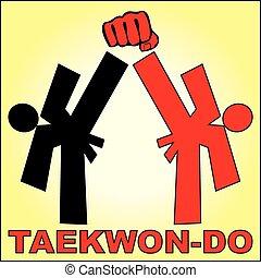Combat karate, taekwondo - Martial arts karate, taekwondo,...