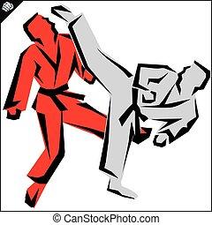 karate fighter high kick poster