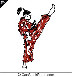 karate fighter high kick poster