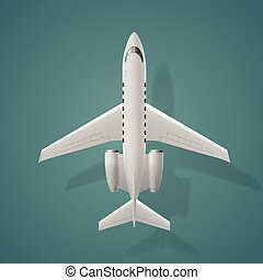 Airplane top view, isolated background
