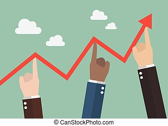 Hands pushing graph up. Business concept