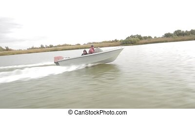 The delta of the Volga River - Powerboat racing on the river...