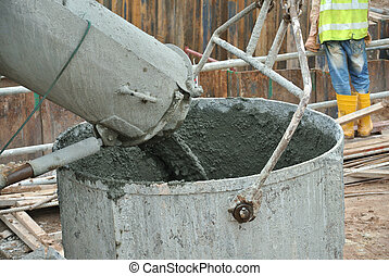 Concrete bucket receiving concrete - A truck load of...