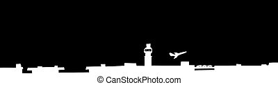 Airport Background and Plane Taking Off - Black silhoutte...