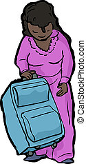 Woman with Suitcase - Cartoon of single woman standing with...