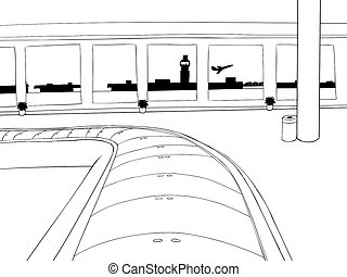 Empty Baggage Claim Outline - Cartoon outline of empty...