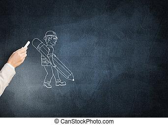 Caricaturas, de, ingeniero, hombre,