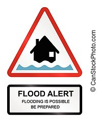 Flood Alert Warning - Amber flood alert warning sign...