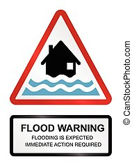 Flood Warning - Red flood warning sign isolated on white...