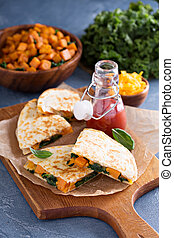 Quesadillas with kale and sweet potato - Quesadillas with...