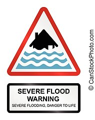 Severe Flood Warning - Red severe flood warning sign...
