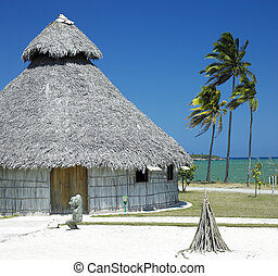 demonstration of aboriginal hut, Bahia de Bariay, Holguin...