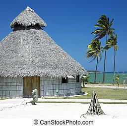 demonstration of aboriginal hut, Bahia de Bariay, Holguin...