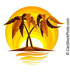 tropical palm on island in ocean with sunset illustration...