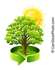 green tree oak as ecology symbol illustration isolated on...