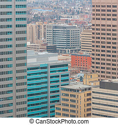 Calgary Highrises - View from a highrise window of many...