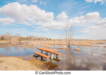 A Flooded Picnic - Landscape of a flooded picnic table in...