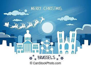 Santa Claus Sleigh Reindeer Fly Belgium Sky over Brussels...