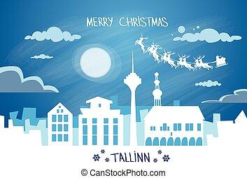 Santa Claus Sleigh Reindeer Fly Estonia Sky over Tallinn...
