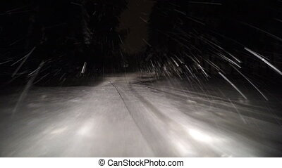 Driving through the winter forest on snowy road at night