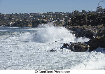 High Tide Coastal Waves Hitting the La Jolla California...
