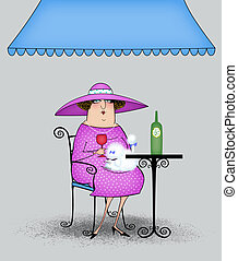 Funny Cartoon Lady at a Sidewalk Cafe - Funny fancy lady...