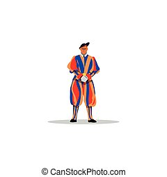 Swiss guards of the Vatican. Vector Illustration. -...