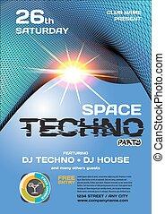 vector, noche, fiesta, invitación, Techno, style.,...