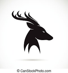 Vector images of deer head on a white background.