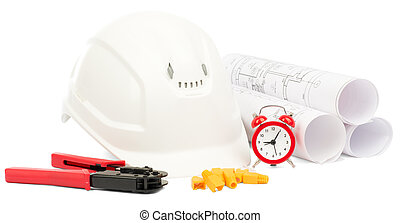 Blueprint rols and helmet with tools - Blueprint rols and...