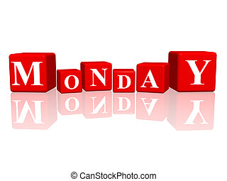 monday in 3d cubes - 3d red cubes with letters makes monday