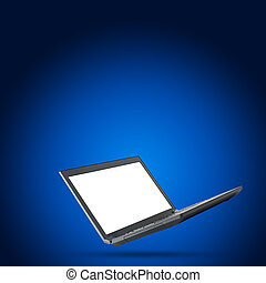 Laptop with blank screen on blue background