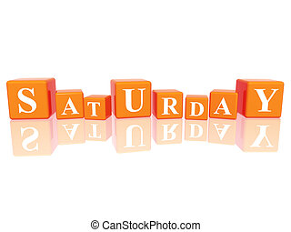 saturday in 3d cubes - 3d orange cubes with letters makes...