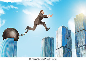 Young man jumping over gap - Image of young businessman with...