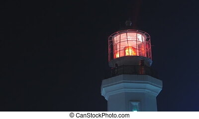 Lighthouse with red light at night, medium shot Static, slow...
