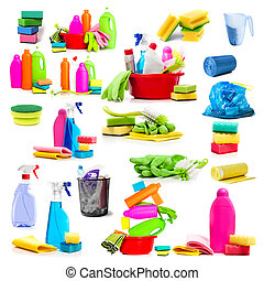 Collage of photos detergent and cleaning supplies isolated...