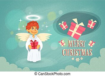 Christmas Little Angel Hold Gift Box Flat Vector...