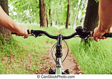 Riding on bicycle