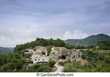 Old Mediterranean village on a small hill