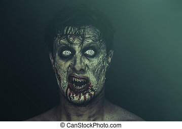 Horrible zombie - Bloody horrible zombie man screaming on...